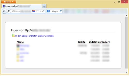 FTP-Server auf Raspberry Pi - Weboberfläche im Browser