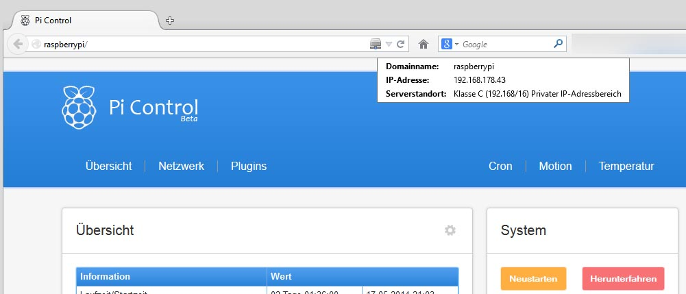 Hostname Aufruf im Browser