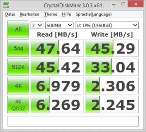SanDisk Extreme microSDXC 64GB CrystalDiskMark