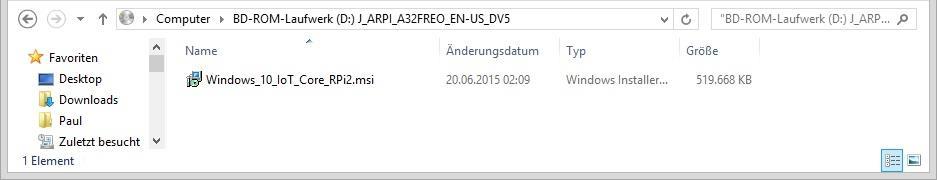 Windows_10_IoT_Core_RPi2.msi ausfuehren