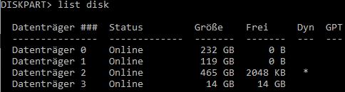 Diskpart - list disk