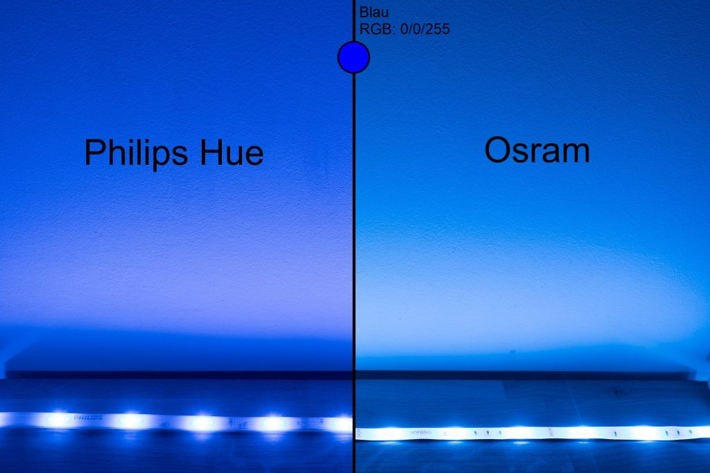 Philips Hue vs Osram - Blau Vergleich