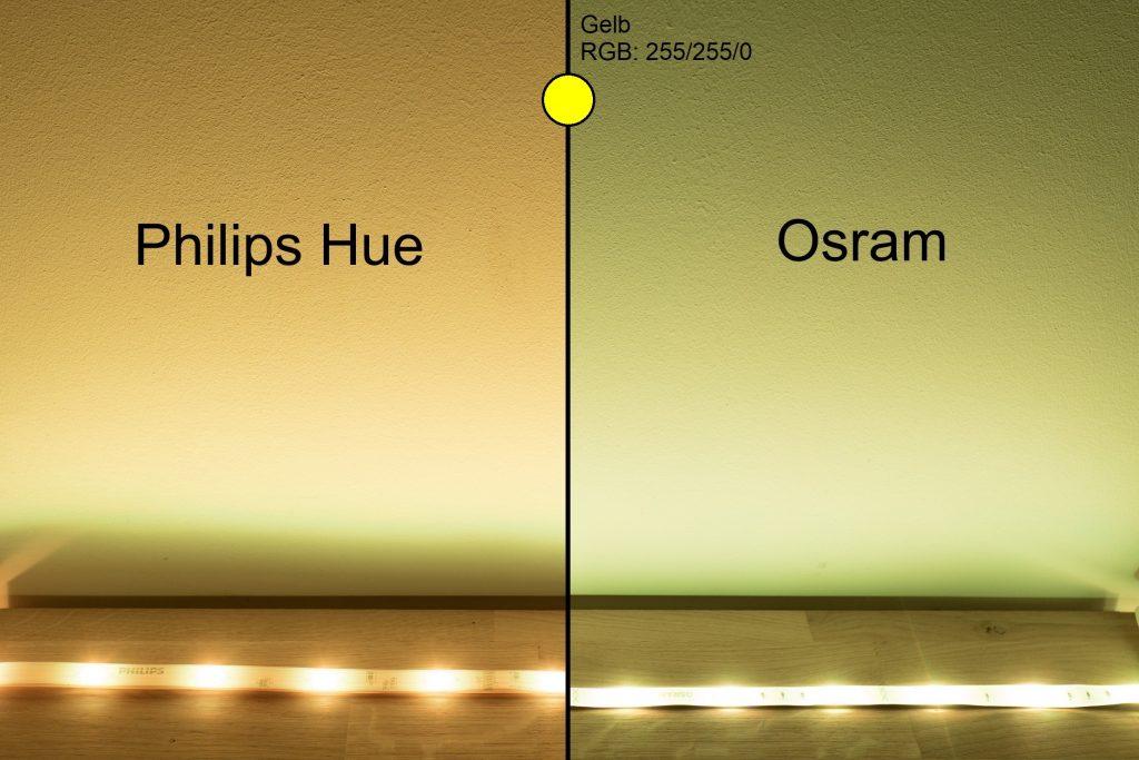 Philips Hue vs Osram - Gelb Vergleich