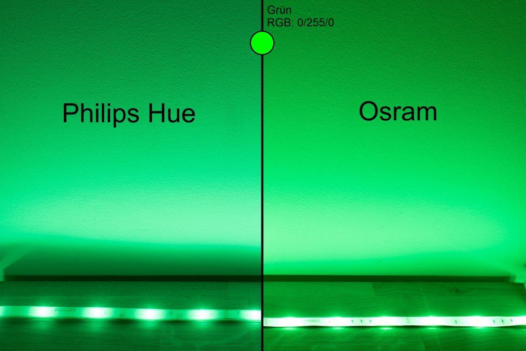 Philips Hue vs Osram - Grün Vergleich