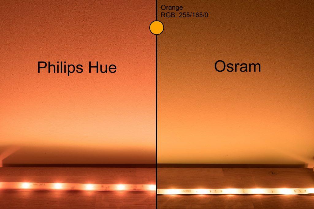 Philips Hue vs Osram - Orange Vergleich
