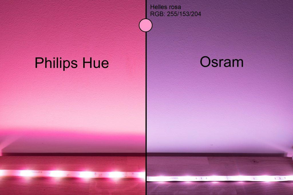 Philips Hue vs Osram - Rosarot Vergleich