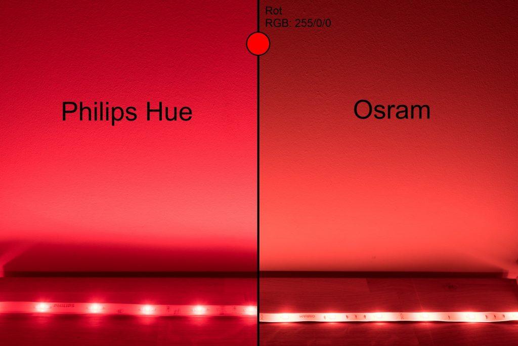 Philips Hue vs Osram - Rot Vergleich