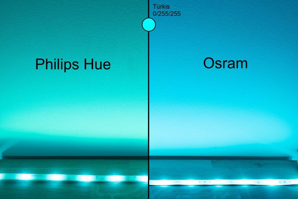 Philips Hue vs Osram - Türkis Vergleich