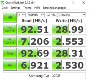 Samsung Evo Plus - CrystalDiskMark