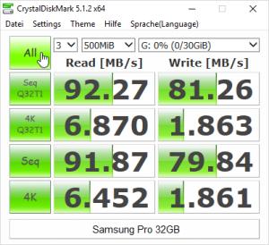 Samsung Pro - CrystalDiskMark
