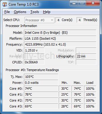 Intel i5 3570k Übertaktet Temperatur / Last