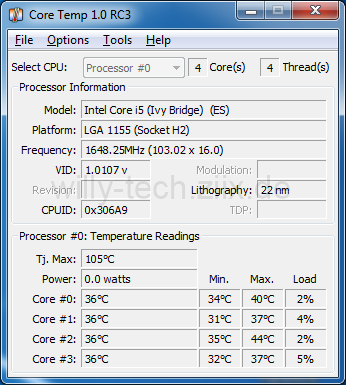 Intel i5 3570k Idle Temperatur